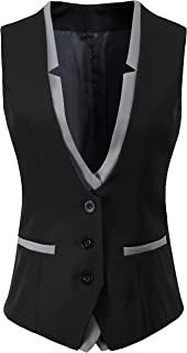 Women V-Neck Slim Fit Business Office Bottoned Dressy Suit Vest Waistcoat