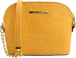 Steve Madden Women's Crossbody WChain Handbag,Leather Material - Mustard Yellow