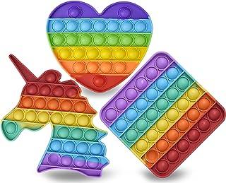 PJ Rainbow Pop It Fidget اسباب بازی بسته 3 تایی برای اوتیسم اضطراب استرس ، اسباب بازی حسی حباب سیلیکونی ، اسباب بازی های استرس برای کودکان و نوجوانان و بزرگسالان در میدان ، اسب شاخدار ، شکل قلب