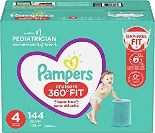 Pampers Diapers Pull On Cruisers 360° Fit Disposable Baby Diapers with Stretchy Waistband ONE Month Supply Packaging May Vary, 144 Count