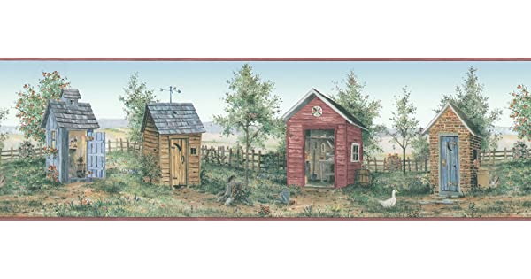 Brewster 418B056 For Your American Home Backyard Country Scenic Wall Border 6.875-Inch by 180-Inch