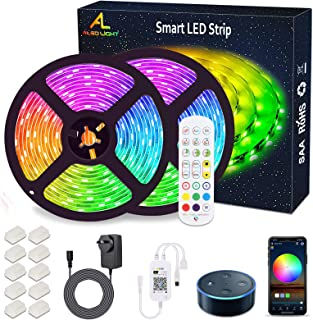 WiFi LED Strip Lights 10M (2x5M), ALED LIGHT RGB LED Strips Lights 5050 SMD, 16 Million Colors, Sync with Music, IP65 Wate...