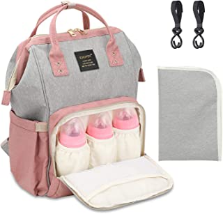 Diaper Backpack Multi-Function Waterproof Travel Baby Nappy Bag Large Capacity Stylish Durable Diaper Bag with Stroller Straps and Changing Pad for Mom, Dad, Baby Care (Gray&Pink)