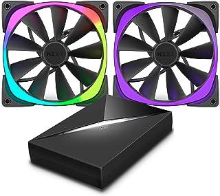 Nzxt AER RGB140 RGB LEDファン 140 mm HUEコントローラー付き - ブラック (2個パック)