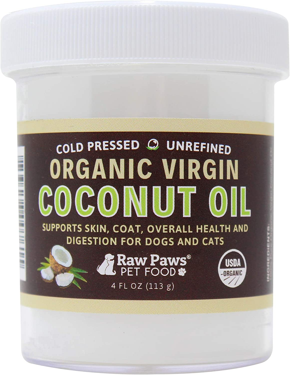 Raw Paws Organic Virgin Coconut Oil for Dogs & Cats, 4oz  Supports Immune System, Digestion, Oral Health, Thyroid  All Natural Allergy Relief for Dogs, Hairball Relief, Tick Flea Control for Dogs