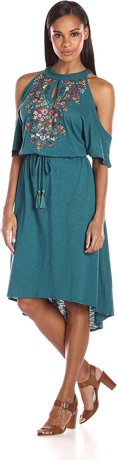 Democracy Womens Cold Shoulder S S Drawstring High Low Dress Dress