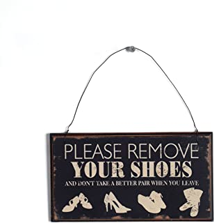 NIKKY HOME Distressed Please Remove Your Shoes Decorative Wooden Hanging Wall Sign 8.37 x 0.37 x 4.5 Inches Black