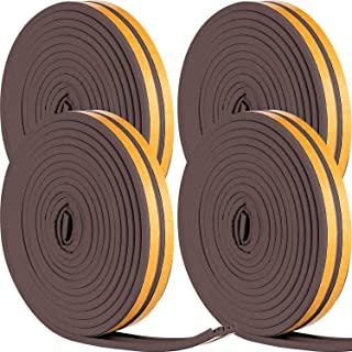 Heysta Weather Stripping Set Self Adhesive Strips Draught Excluder Tape Weather Strips Seal Tapes for Cars Doors Windows Sliding Doors (66 Feet, Brown)