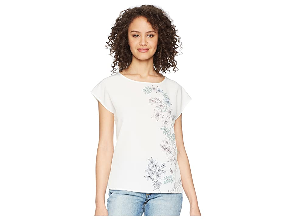 Vince Camuto Extend Shoulder Botanical Floral Print Blouse (New Ivory) Women