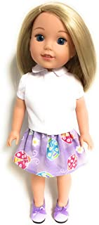 White Blouse & Lavender Ladybug Print Skirt for 14 inch American Girl Wellie Wisher Doll