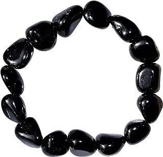 CHARGED Natural Black Obsidian Crystal Bracelet Tumble Polished Stretchy HEALING ENERGY/GROUNDING/GRIEVING BRACELET REIKI by ZENERGY GEMS