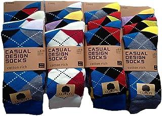 12 pares de calcetines para hombre, diseño de rombos brillantes, algodón y licra, talla única
