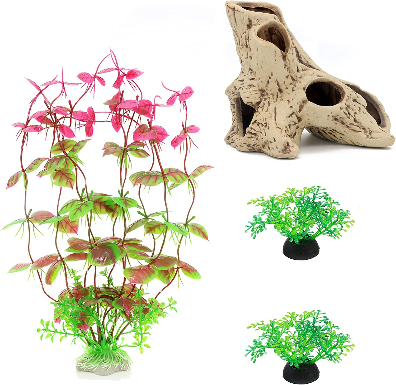 4 OFFicial shop Pack Aquarium Fish Tank Decorations Set Plants R Plastic Ranking TOP13 with