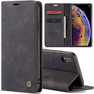 iPhone 6/7/8 Plus/XR/X/Xs Max Slim Folio Leather Wallet Card Holder Case with Kickstand Magnetic Flip Protective Cover