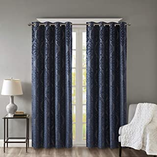 SUNSMART Mirage 100% Blackout Curtain Knitted Jacquard Damask Total Room Darkening Window Panel with Grommet Top, 50x95, Navy