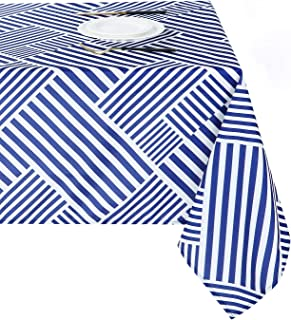 Joyfol Day Square Tablecloth, Geometric Pattern Stripe Oxford Table Cloth,Waterproof and Wrinkle Resistant, Washable Table...