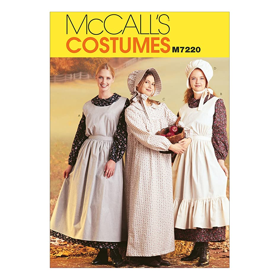 McCall's Costumes M7220, Women's Pioneer Costume Dress Sewing Pattern, Large