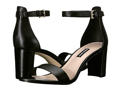 Nine West Pruce Block Heel Sandal (Black Nappa) High Heels