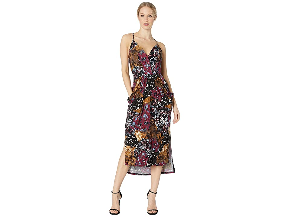 BCBGeneration Midi Faux Wrap Dress (Black Multi Combo) Women