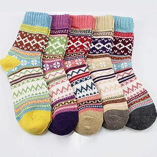 MIWNXM, 10 Pares Women's Socks Vintage Winter Soft Breathable Cotton Female Socks Thicker Anti-Slip Warm Cold Knit Wool Floor Socks