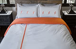 Thread Experiment Luxurious Embroidered Duvet Cover and Pillow Shams for Men, Orange/Grey, Full/Queen