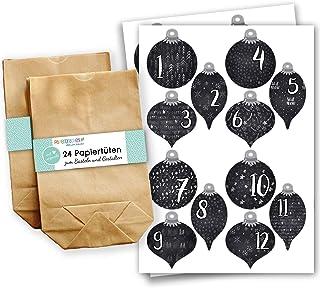 Papierdrachen Zestaw kalendarza adwentowego - 24 brązowe torby papierowe i 24 naklejki w kształcie świątecznych kulek - zr...