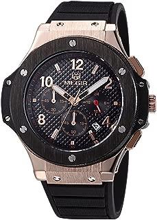 Men's Military Chronograph Silicone Band Luminous Calendar Quartz 24 Hr Rose Gold Wrist Watch