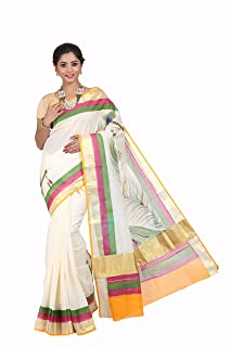 Fashionkiosks cream cotton kerala kasavu HAND PAINTED MURAL ART work saree with Attached Blouse
