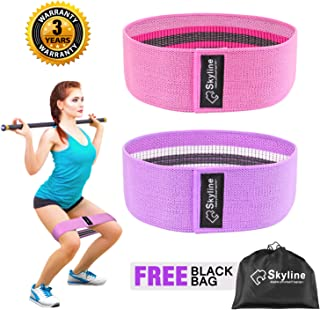 Skyline Resistance Bands for Legs and Butt,Booty Fabric Bands Exercise Bands Hip Bands Wide Workout Bands Sports Fitness Bands Stretch Resistance Loops Band Anti Slip Elastic (2019 Upgrade)