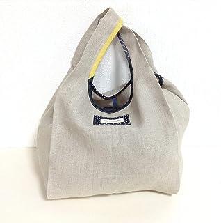 Jam's Ukulele MOR-048-2 / エコバッグ Mサイズ 麻 リネン ナチュラル ベージュ お買い物バッグ ショッピングバッグ レジバッグ 折り畳みバッグ レディース ハンドメイド 手作り プレゼント