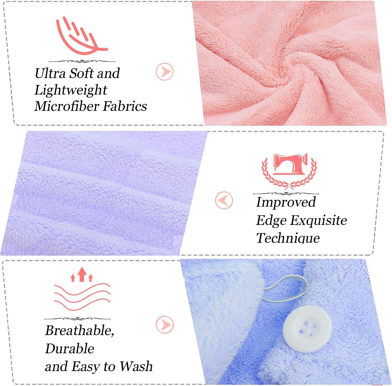 Kytree Bath Towel Wrap for Women's Microfiber Shower Towel Wraps Bathrobe - Spa, Shower, and Gym Towel and Dry Hair Towels 4-Pie