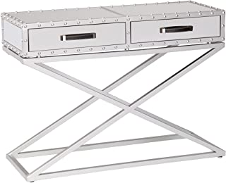 Mirrored Console Table - Studded Mirror Design - 2 Fabric Lined Drawers