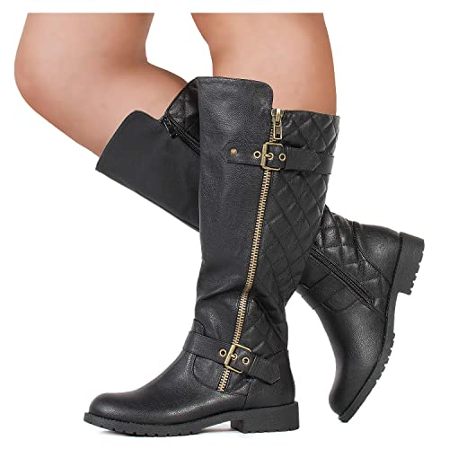fe3b79d10f9 RF ROOM OF FASHION Wide Calf Lady s Buckle Knee High Riding Boots Hidden  Pocket