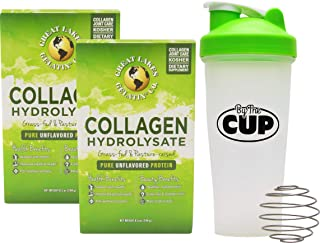 Great Lakes Gelatin, Collagen Hydrolysate, Unflavored Beef Protein, Kosher, Single Serve Packets 40 Ct with by The Cup Shaker