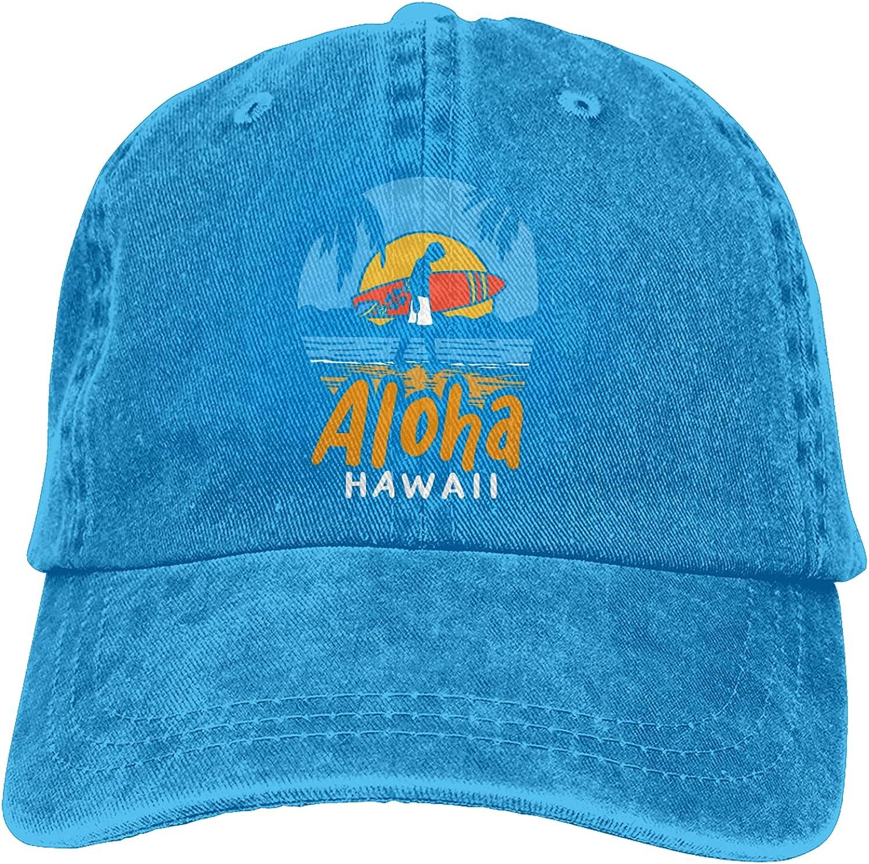 Aloha Hawaii Hawaiian Denim Cap,Vintage Baseball Cap,Adjustable Washed Unisex Dad Hat Trucker Cap