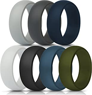 ThunderFit Silicone Rings, 7 Pack / 1 Ring Wedding Bands for Men - 8.7 mm Wide