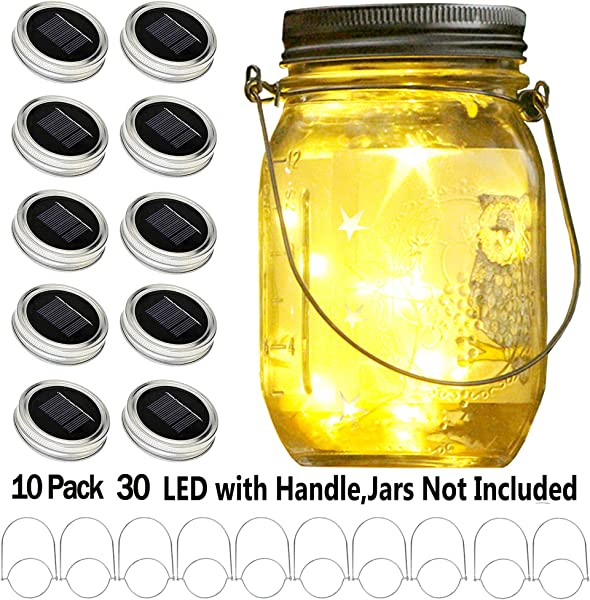 YITING Upgraded Solar Mason Jar Lid Lights 10 Pack 30 LED Fairy Star Firefly String Lids Lights Including 10 Pcs Hangers And 6 Pcs PVC For Wedding Patio Garden Party Decorations No Jars