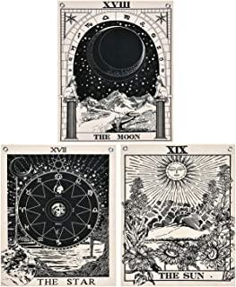 Likiyol Pack of 3 Tarot Tapestry The Sun The Moon The Star Tarot Card Tapestry with Rustproof Grommets, Seamless Nails (Black White, 11.8 x 15.7 inches)