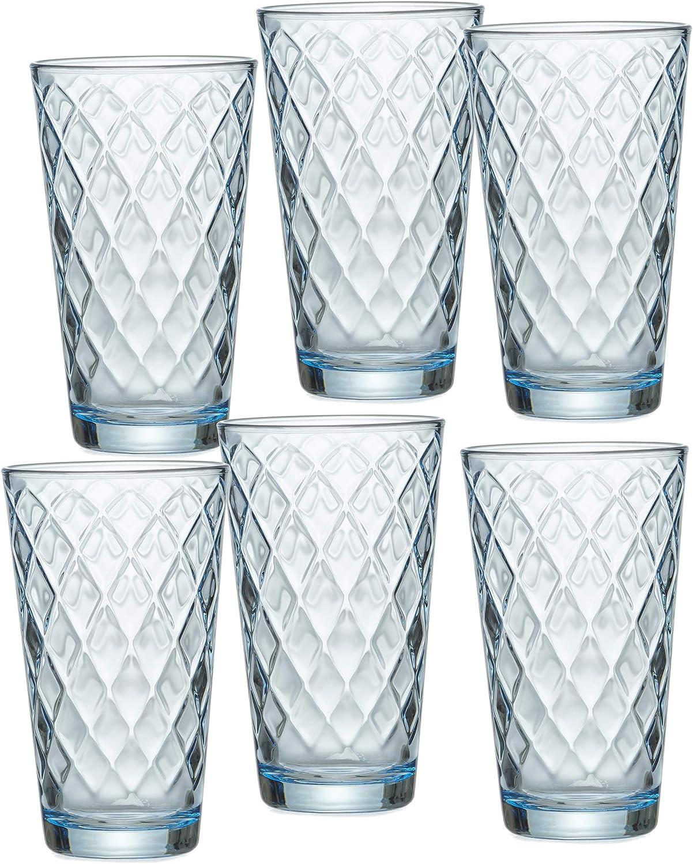 Ritzenhoff & Breker Lawe Diamond - Juego de 6 vasos (400 ml, cristal, 400 ml), color azul