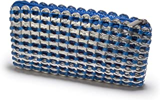 Blue Clutch, Chica Rosa, Recycled Aluminum Pop Top Purse Made in Brazil