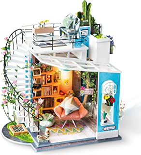 Rolife Dollhouse with Furniture Wooden Miniature House Kit DIY Dora's Loft