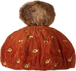 CTH8124 Wide Wale Corduroy Beret with Floral Embroidery and Faux Fur Pom
