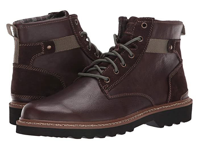Rockport  Peirson Plain Toe Boot (Java Leather/Suede) Mens Shoes