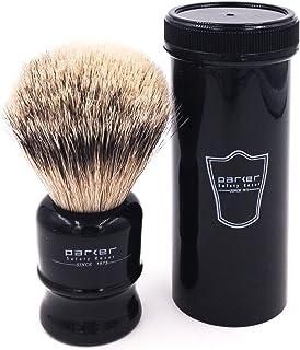 Parker Safety Razor,100% Silvertip Travel Shave Brush with Case, Black