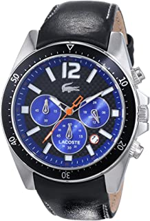 Lacoste Seattle For Men Black Dial Leather band Chronograph Watch - 2010752