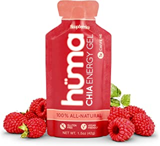 Huma Chia Energy Gel, Raspberries, 12 Gels, 1x Caffeine - Premier Sports Nutrition for Endurance Exercise