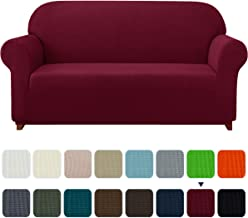 Subrtex 1-Piece Plaid Jacquard Stretch Couch Slipcovers, Loveseat, Wine