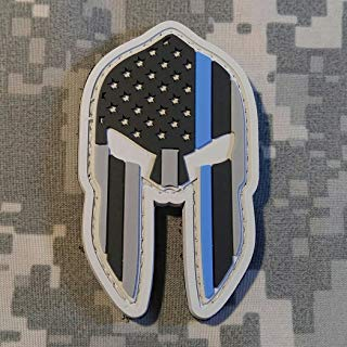 Spartan Molon Labe Thin Blue Line PVC Rubber Morale Patch by NEO Tactical Gear Morale Patch