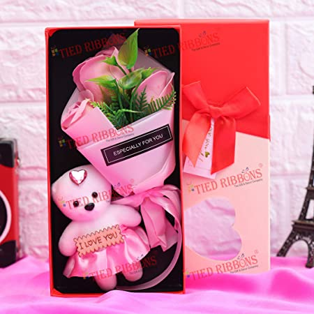 TIED RIBBONS Valentines Day Gift Pack for Girlfriend Wife (Bouquet of Scented Rose Flowers with Mini Teddy)
