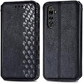 電話ケース for Oppo Realme X50 Pro 5G立方晶グリッドプレス水平フリップ磁気PUレザーケースホルダー&カードスロット&財布 (Color : Black)